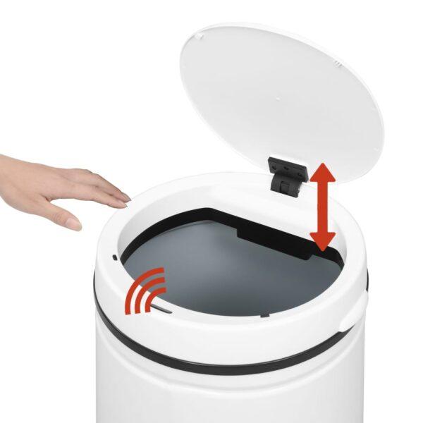 vidaXL Prullenbak met automatische sensor 60 L koolstofstaal wit