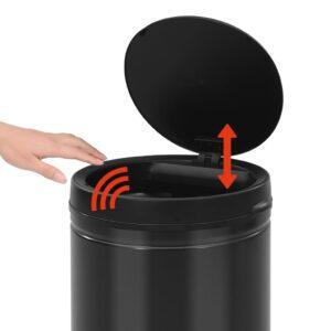 vidaXL Prullenbak met automatische sensor 60 L koolstofstaal zwart