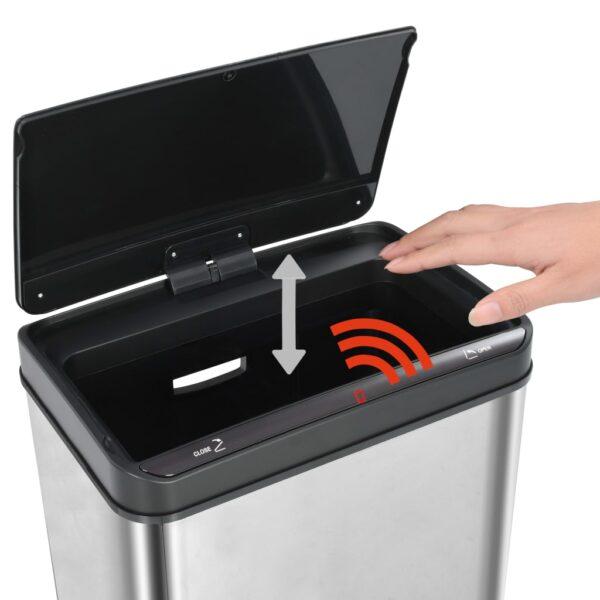 vidaXL Prullenbak met automatische sensor 70 L RVS zilver en zwart