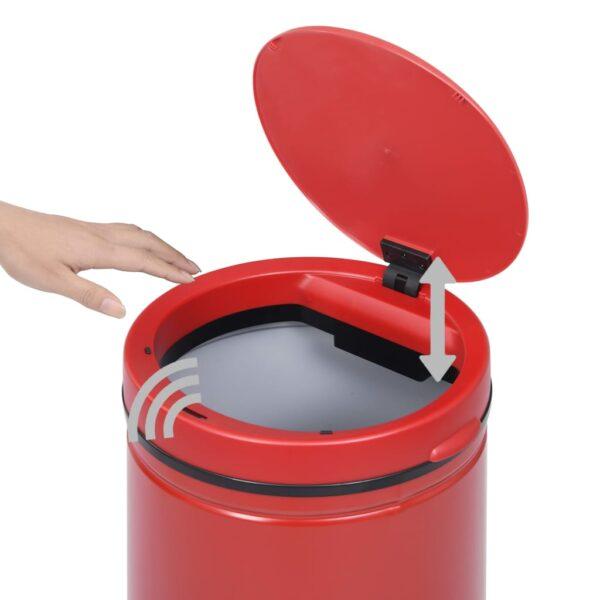vidaXL Prullenbak met automatische sensor 70 L koolstofstaal rood