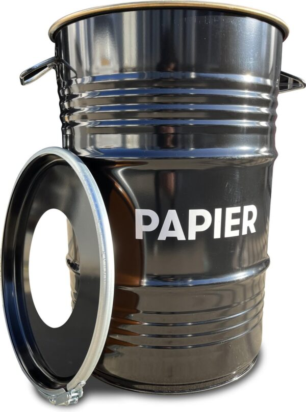 BinBin Hole Papier industriële prullenbak- papierbak- afvalscheiding 60 Liter olievat met gat deksel voor papieren afval